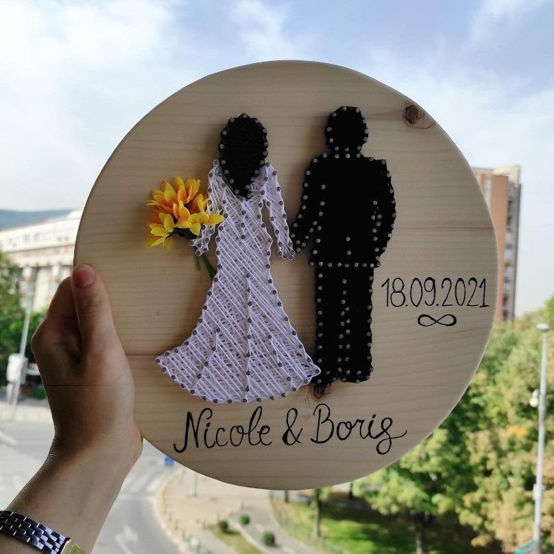 Подарок за свадба -  дрвена слика за невестата и младоженецот